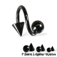 Black spiral barbell with ball and cone, 14 ga