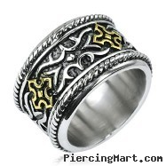 316L Stainless Steel Gold IP Cross Knight Armor Wide Ring