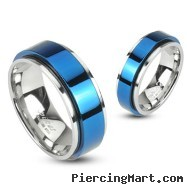 316L Stainless 2 Tone Double Layered Ring with Blue IP Spinning Center