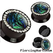 Pair Of Black Acrylic Double Flared Jeweled Plugs with Abalone Inlay Center