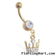 Gold Tone belly ring with dangling crown