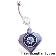 Belly Ring with official licensed MLB charm, Seattle Mariners