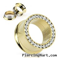 Pair Of Gold Tone Threaded Tunnels With Jeweled Rim