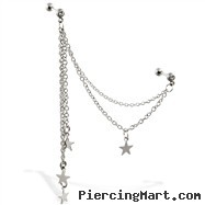 Double jeweled straight barbells with dangling stars and connecting chains, 16 ga