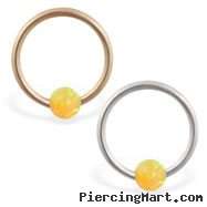 14K real gold captive bead ring with yellow opal ball