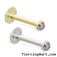 14K Gold Internally Threaded Labret with 1.5 mm Alexandrite