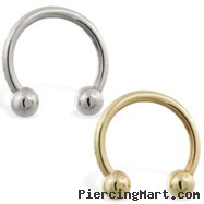 14K Gold Horseshoe/Circular Barbell