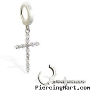 Silver Tummytoys Belly Sleeper Ring With Jeweled Cross Dangle, 14 Ga