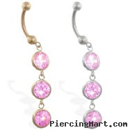 14K Gold belly ring with 3 dangling pink circle CZ