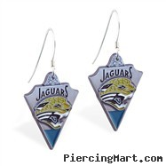 Mspiercing Sterling Silver Earrings With Official Licensed Pewter NFL Charm, Jacksonville Jaguars