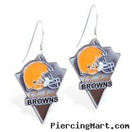 Mspiercing Sterling Silver Earrings With Official Licensed Pewter NFL Charm, Cleveland Browns