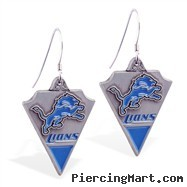 Mspiercing Sterling Silver Earrings With Official Licensed Pewter NFL Charm, Detroit Lions
