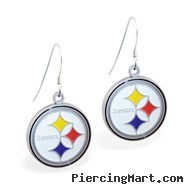Mspiercing Sterling Silver Earrings With Official Licensed Pewter NFL Charm, Pittsburgh Steelers