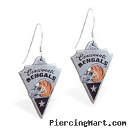 Mspiercing Sterling Silver Earrings With Official Licensed Pewter NFL Charm, Cincinnati Bengals