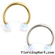 14K Gold Horseshoe/Circular Barbell with White Opal Balls
