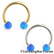 14K Gold Horseshoe/Circular Barbell with Blue Opal Balls