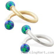 14K Gold twister barbell with Blue Green opal balls , 14ga