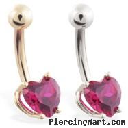 14K Gold belly ring with 6mm Garnet heart