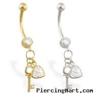 14K Gold belly ring with dangling CZ jeweled heart and key