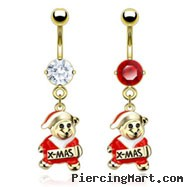 Gold Tone Belly Button Ring with Dangling Christmas Teddy Bear