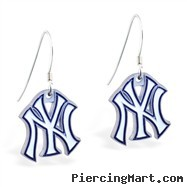Mspiercing Sterling Silver Earrings With Official Licensed Pewter MLB Charms, New York Yankees