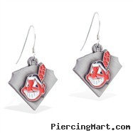 Mspiercing Sterling Silver Earrings With Official Licensed Pewter MLB Charms, Cleveland Indians