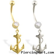 14K Gold belly ring with dangling anchor