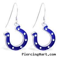 Mspiercing Sterling Silver Earrings With Official Licensed Pewter NFL Charm, Indianapolis Colts