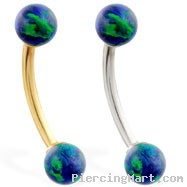 14K Gold curved barbell with Blue Green opal balls