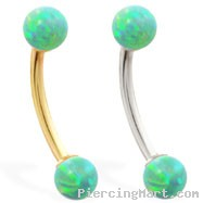 14K Gold curved barbell with Green opal balls