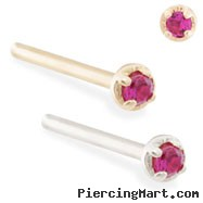14K real gold (Nickel free) customizable nose stud with 1.5mm Garnet gem