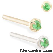 14K Gold customizable nose stud with 1.5mm Emerald gem