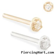 14K Gold customizable nose stud with 1.5mm Clear CZ gem