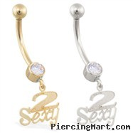 "14K Gold belly ring with dangling ""2 Sexy"" charm"