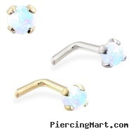14K Gold L-shaped Nose Pin with 2mm Round White Opal