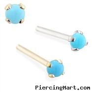 14K real gold (Nickel free) Customizable Nose Stud with 2mm Round Cabochon Turquoise