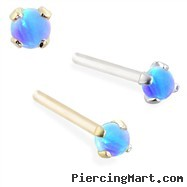 14K real gold (Nickel free) Customizable Nose Stud with 2mm Round Blue Opal