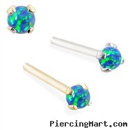 14K real gold (Nickel free) Customizable Nose Stud with 2mm Round Blue Green Opal