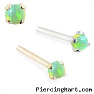 14K real gold (Nickel free) Customizable Nose Stud with 2mm Round Green Opal