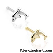 14K Gold dolphin nose bone, 20 ga