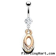 Belly ring with dangling jeweled and Gold Tone ovals