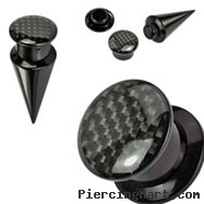 2-In-1 Interchangeable Black Acrylic Screw Fit Taper With Carbon Fiber Top