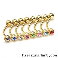 "Gold Tone 5/16""(8mm) long eyebrow ring with jeweled CZ balls, 16 ga"
