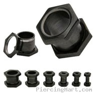 Pair Of Black Titanium Plated Hexagon Screw Fit Tunnels