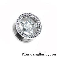 Pair of Stainless Steel Screw Fit Tunnel with clear CZ star and jeweled Rim