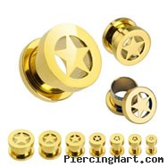 Pair Of Gold Tone Surgical Steel Screw Fit Tunnels With Star