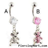 Navel ring with dangling jeweled teddy bear