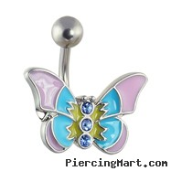 Pastel colored butterfly belly ring