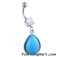 Curved Barbell With Dangling Jeweled Teardrop, 16 Ga