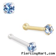 14K Gold Nose Bone with 1.5mm Round Blue Topaz CZ, 22 Ga